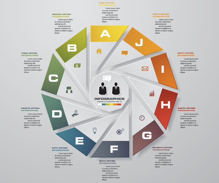 work flow: Infographic design template and business concept with 10 options, parts, steps or processes. Can be used for work flow layout, diagram, number options, web design. Illustration