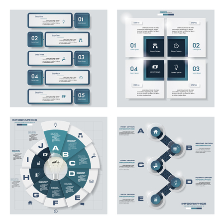 versions: Collection of 4 blue color templategraphic or website layout. Vector Background. For your idea and presentation.