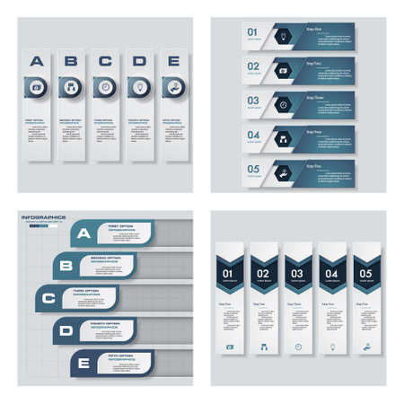 handshakes: Collection of 4 blue color templategraphic or website layout. Vector Background. For your idea and presentation.