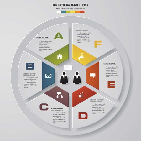 six web website: Abstract 6 steps infographic elements.Vector illustration.