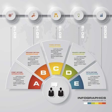 timelines: 5 steps modern presentation template with timelines. EPS10. Illustration