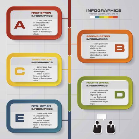 conection: Vector illustration infographic timeline of 5 options. EPS10. Illustration