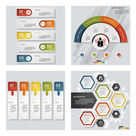 versions: Collection of 4 design colorful presentation templates. Vector Background. For your idea and presentation.