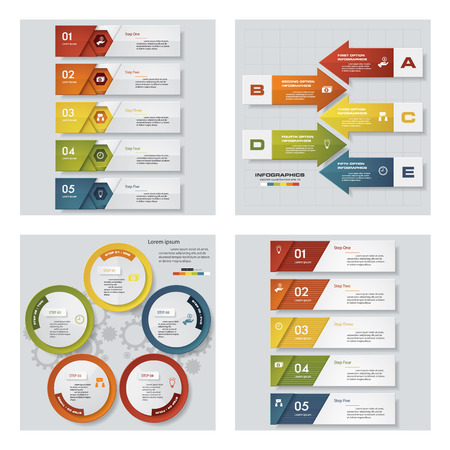 beat brochure: Collection of 4 design colorful presentation templates. Vector Background. For your idea and presentation.