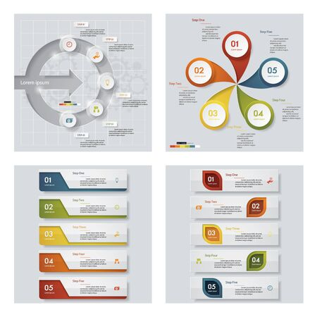 tabs: Collection of 4 design colorful presentation templates. Vector Background. For your idea and presentation.