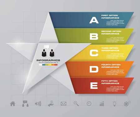 conection: 5 steps presentation template5 options star shape graphic or website layout. Vector.