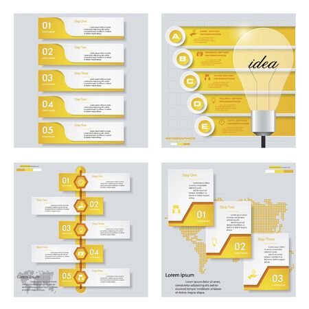 Collection of 4 yellow color templategraphic or website layout. Vector Background. For your idea and presentation. Illustration