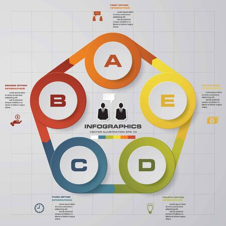 Simple&Editable 5 Steps chart diagrams templategraphic or website layout. Vector. Illustration