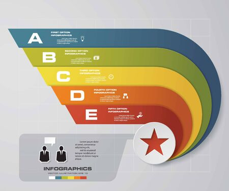 conection: 5 steps presentation template5 options wing shape graphic or website layout. Vector.