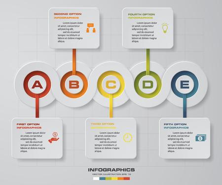 Timograf infograficzny 5 kroków szablonu projektu wektora. Może być używany do procesów przepływu, banerów, diagramów, opcji liczbowych, osi czasu, planu pracy, projektowania stron internetowych. Ilustracje wektorowe
