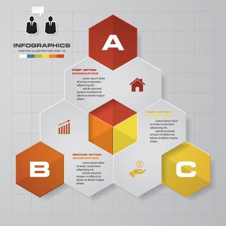 abstract 3 steps in hexagonal shape template. Vector Illustration Illustration