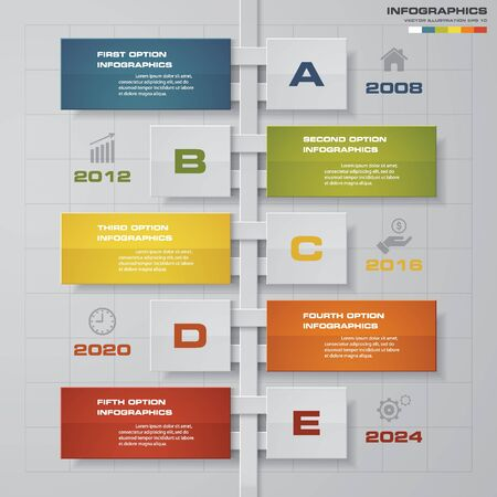 conection: 5 options timeline use for infographicpresentation . EPS10.