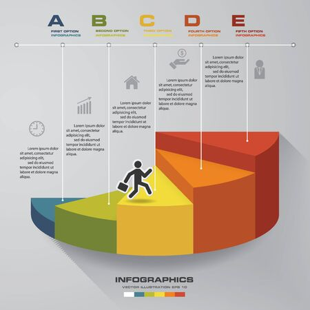 timelines: 5 steps template for presentation. man walking on stairs use for Infographics design with 5 options timelines. Illustration