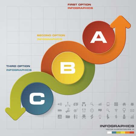 Abstract 3 Steps presentation chart. EPS10 Illustration