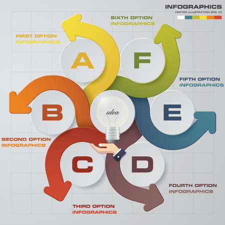 beat brochure: Abstract 6 Steps presentation chart. EPS10 Illustration