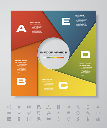 Vector infographic 5 stappen round banner template. Stock Illustratie