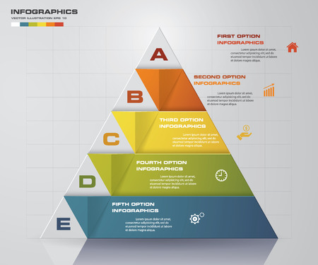 pyramid shape: Abstract pyramid shape layout with 5 steps order templategraphic or website layout. Illustration