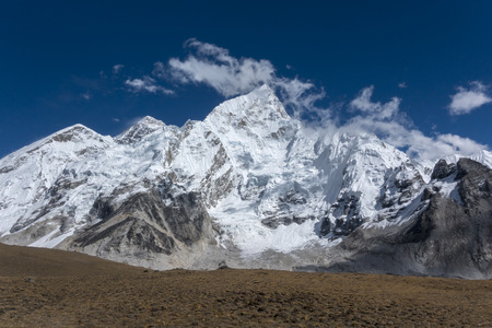 Beautiful Landscape of Everest and Lhotse peak from Gorak Shep. During the way to Everest base camp. Sagarmatha national park. Nepal.