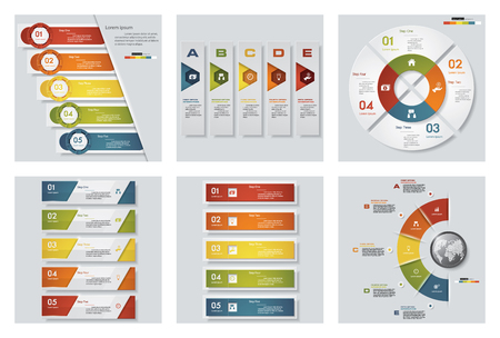 versions: Collection of 6 design colorful presentation templates. Vector Background. For your idea and presentation.