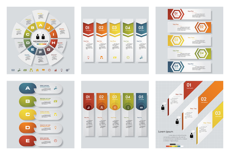 beat brochure: Collection of 6 design colorful presentation templates. Vector Background. For your idea and presentation.