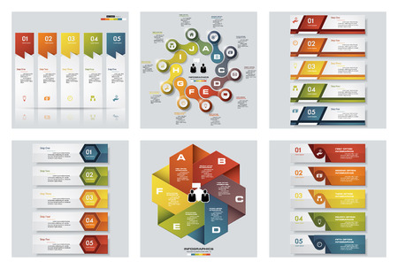 beat brochure: Collection of 6 design colorful presentation templates. Illustration
