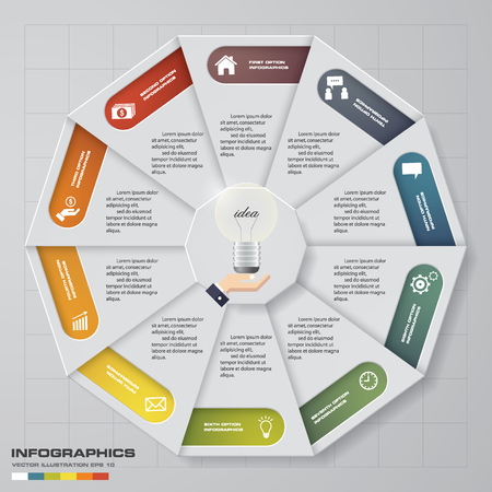 Abstract 10 steps circlewheel infographis elements.Vector illustration.