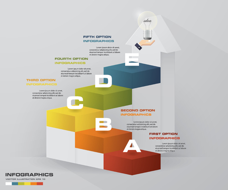 Abstract 5 steps business presentation template. 5 steps color align in vertical dimension stair. Illustration