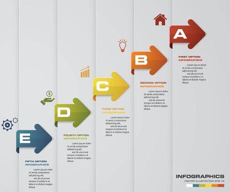 5 steps presentation template. 5 steps timeline presentation template. EPS10.