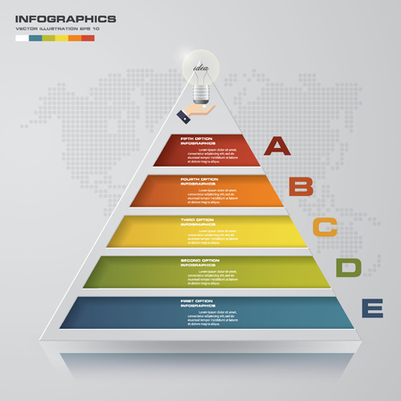 5 steps pyramid with free space for text on each level. infographics, presentations or advertising. EPS10. Illustration