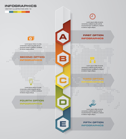 version: Timeline infographic 5 steps vector design template. Can be used for workflow processes, diagram, number options, timeline. EPS10. Illustration