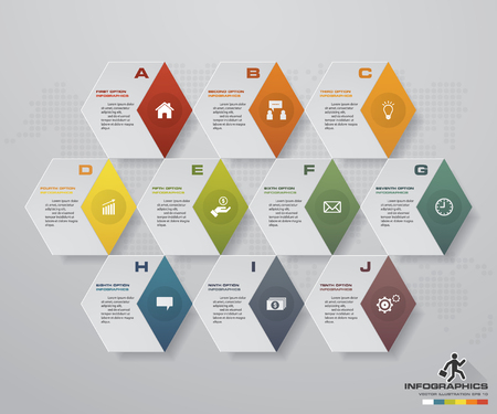 simple&editable 10 steps process. Simple&Editable abstract design element. Vector.