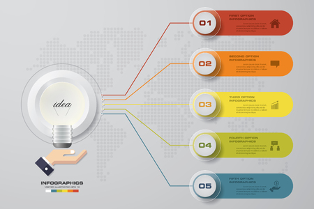 5 steps infographics presentation template. 5 steps with space for your sample text&data. EPS10.