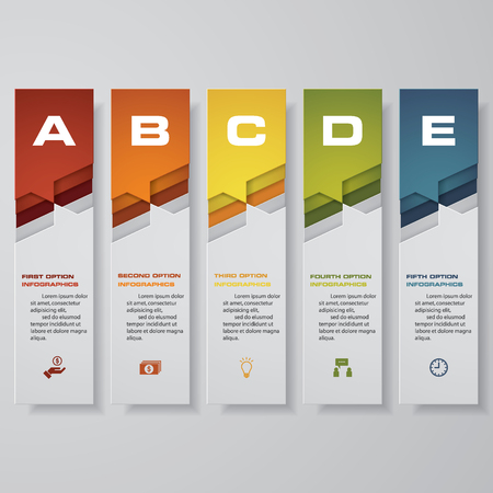Design clean number banners template, graphic or website layout illustration with 5 option. 矢量图像
