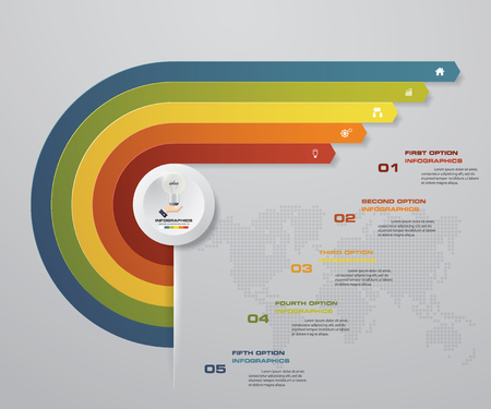 5 steps Infographics element chart for presentation. EPS 10. Arrow template for business presentation. Illustration