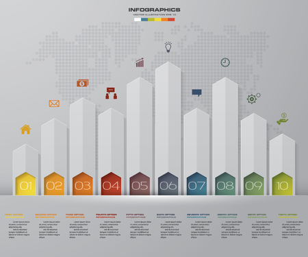 Business infographics design with 10 steps arrow graph for your presentation. EPS 10. Vettoriali