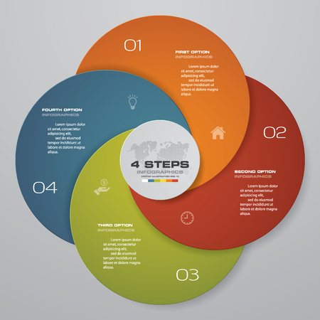Abstract round infographics diagram. Circles of 4 elements or steps.