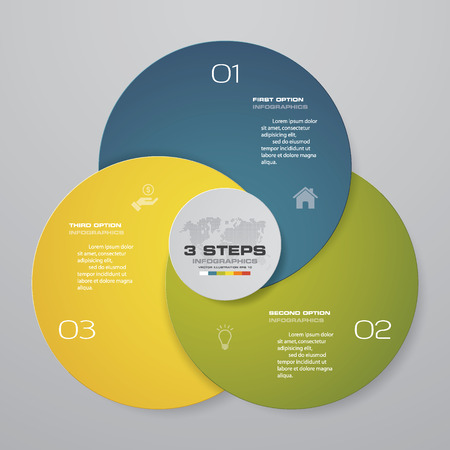 Abstract round infographics diagram. Circles of 3 elements or steps.