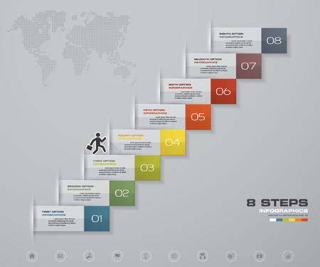 8 Steps staircase Infographic element for presentation.