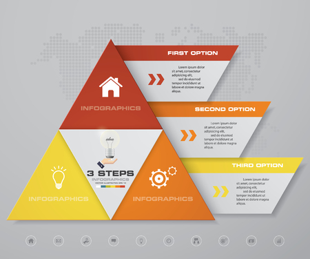 3 steps pyramid with free space for text on each level. infographics, presentations or advertising.