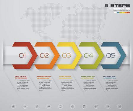 Infographic design elements for your business with 5 options. 5 steps timeline presentation.