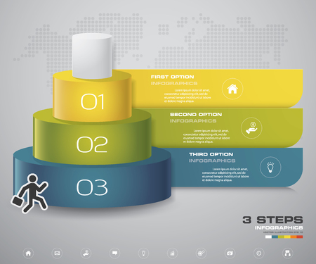 3 steps layers diagram. Simple&Editable abstract design element. EPS10. Illustration