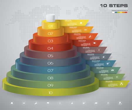 10 steps layers diagram. Simple&Editable abstract design element. EPS10. Иллюстрация