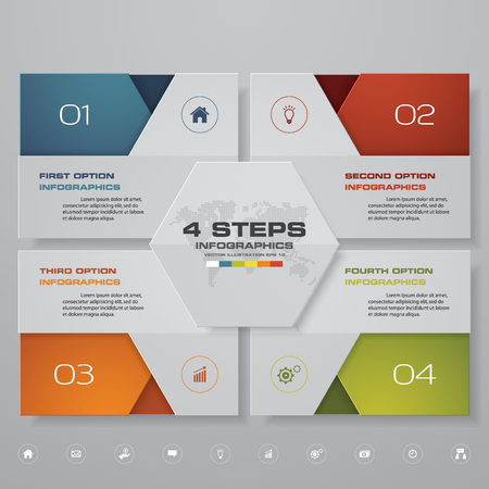 Modern 4 options presentation business infographics template. 矢量图像