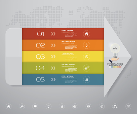 Infographics design with 5 steps arrow for your presentation. EPS 10.