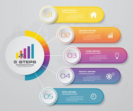 Élément d'infographie de diagramme de processus simple et modifiable en 5 étapes.