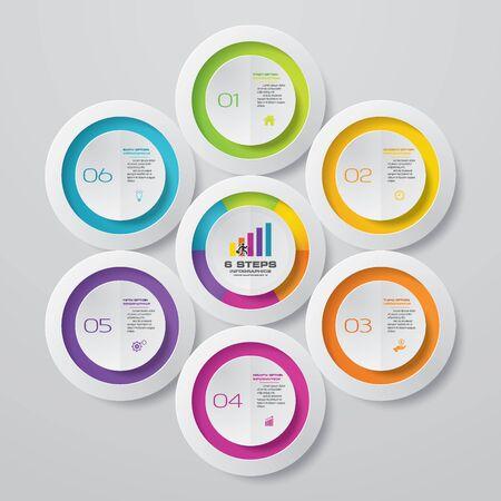 Elemento de infografía de gráfico de proceso simple y editable de 6 pasos. EPS 10. Ilustración de vector