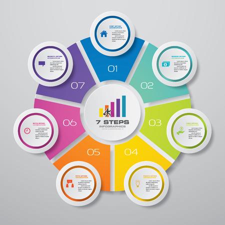 Elemento di infografica del grafico di processo semplice e modificabile in 7 passaggi.