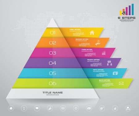 6 steps pyramid with free space for text on each level. infographics, presentations or advertising. Çizim