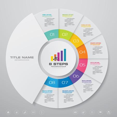Elementos de infografía de gráfico de medio ciclo de 8 pasos. EPS 10.