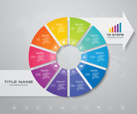10 steps pie chart/ circle chart with arrow infographics design element.